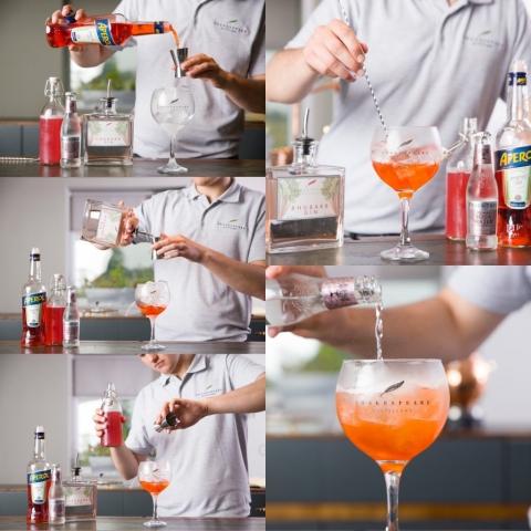 Rhubarb Gin and Aperol Spritz