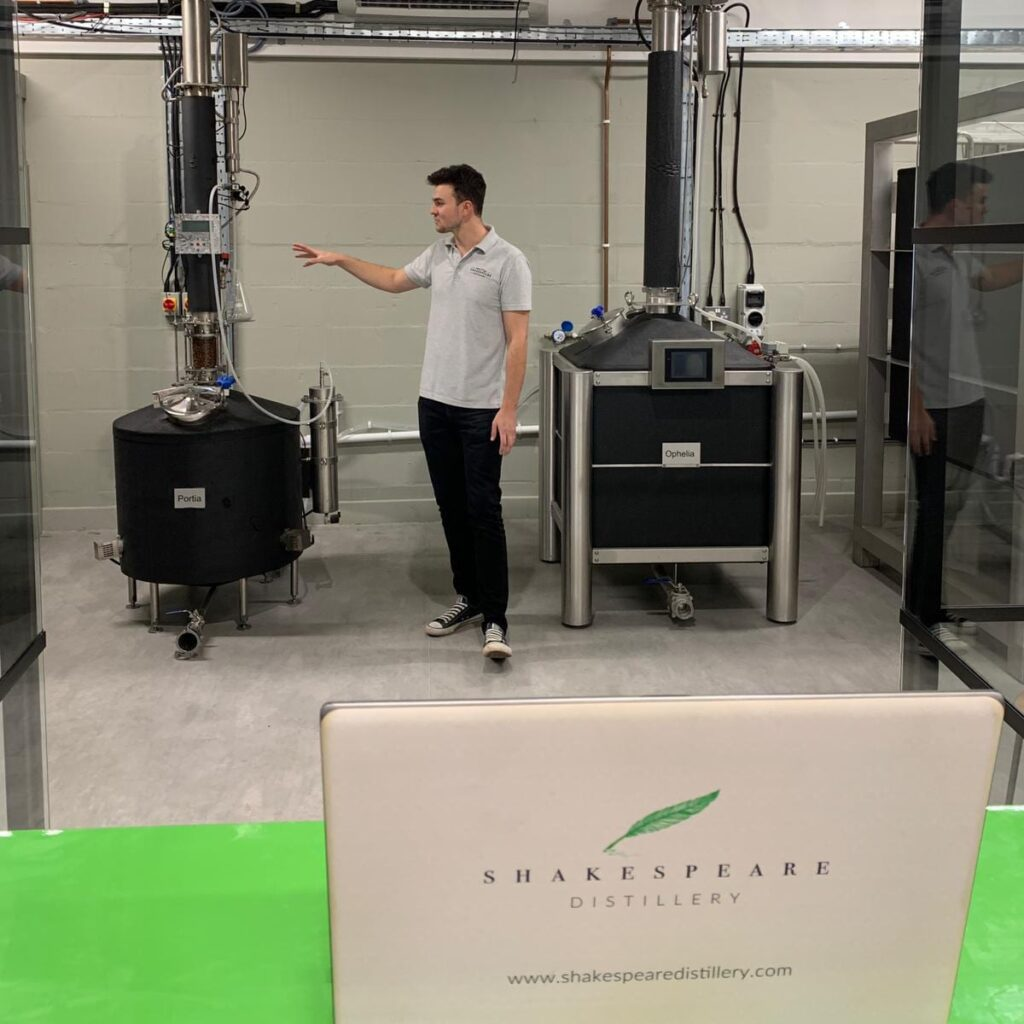 Sam giving a virtual distillery tour